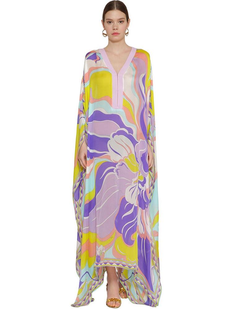 EMILIO PUCCI Printed Gauze Silk & Cotton Caftan Dress