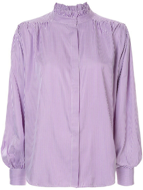 Bambah pleated detail pinstripe blouse in purple
