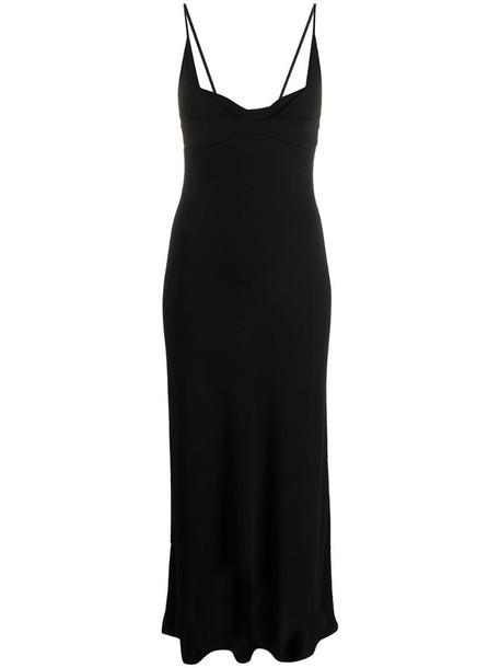 Jil Sander plunge-neck midi dress in black