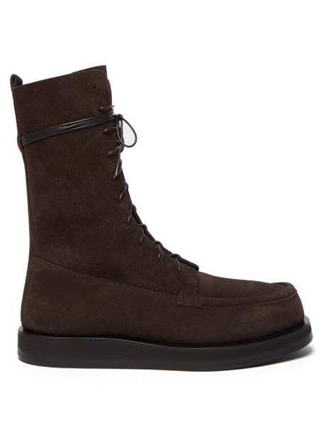 The Row - Patty Lace Up Suede Boots - Womens - Dark Brown