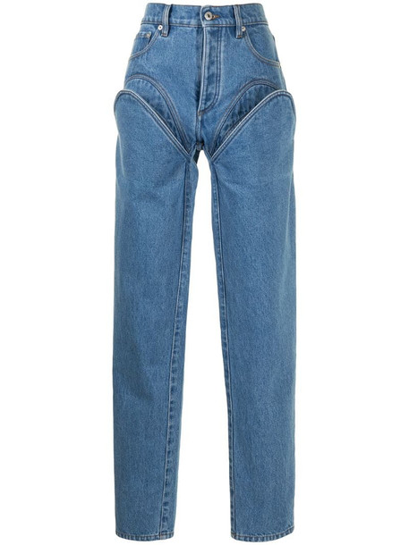 Y/Project chaps-detail jeans in blue