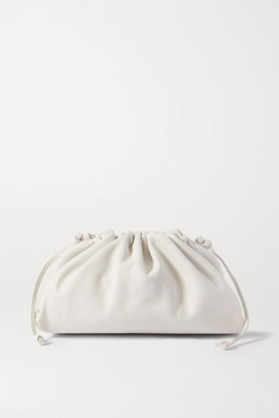 Bottega Veneta - The Pouch Large Gathered Leather Clutch - White