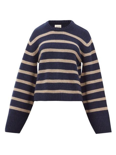 Khaite - Annalise Striped Jacquard Cashmere Sweater - Womens - Navy