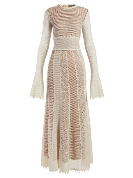 Alexander Mcqueen - Faux Pearl Trimmed Macramé Lace Gown - Womens - Ivory Multi