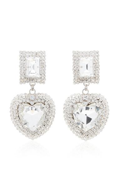 Alessandra Rich Glass Crystal Heart Earrings in silver