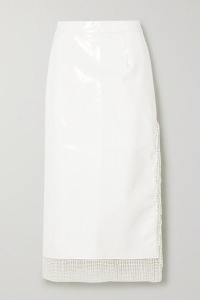 Rowen Rose - Faux Pearl-embellished Vinyl Midi Skirt - White