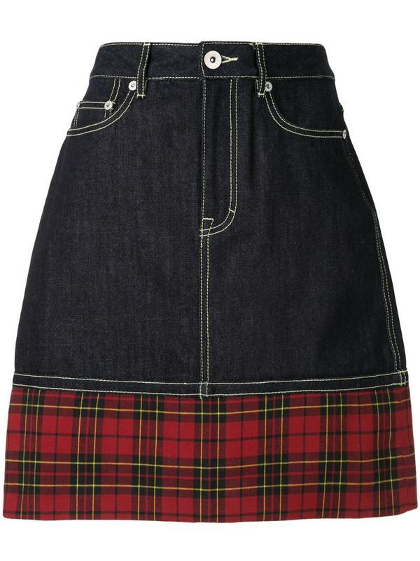 BAPY BY *A BATHING APE® tartan-print denim skirt in blue