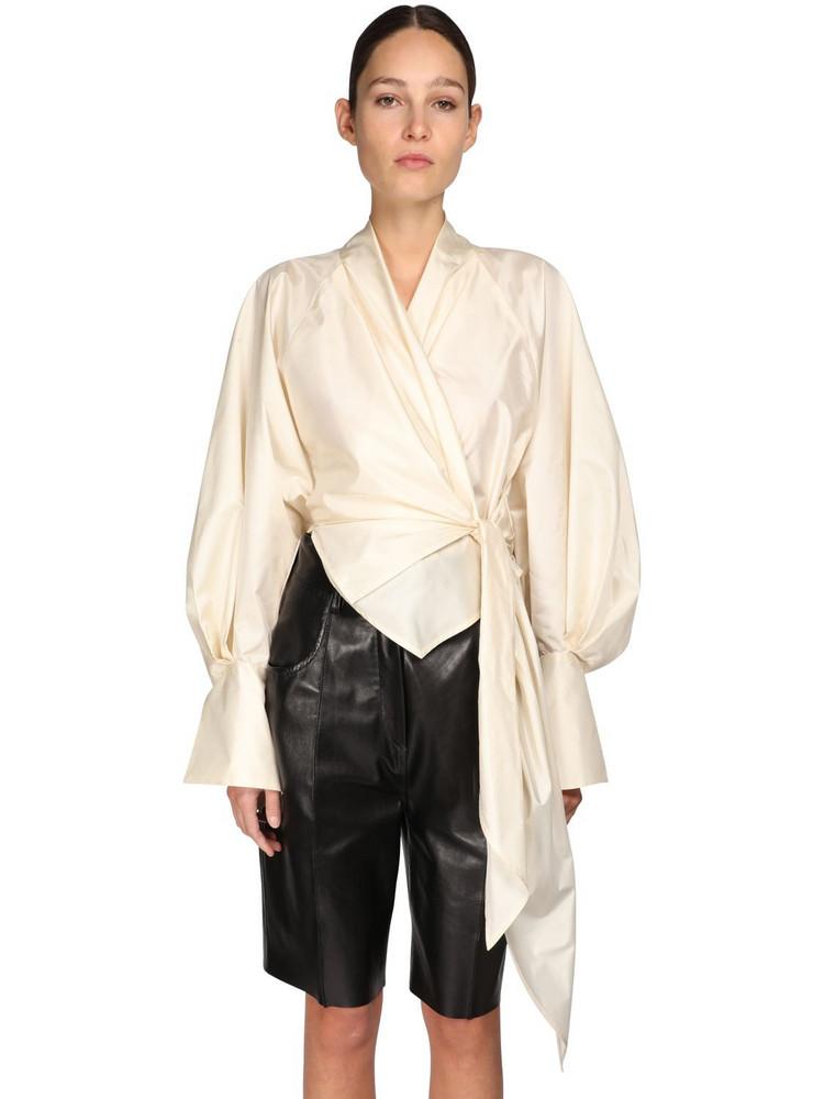 PETAR PETROV Wrapped Silk Taffeta Shirt in ivory