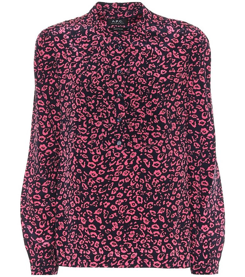 A.P.C. Diana cheetah-print silk blouse in blue