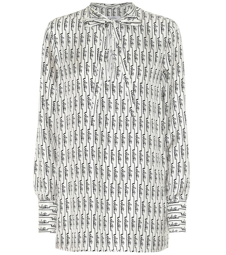 Valentino Logo silk blouse in white