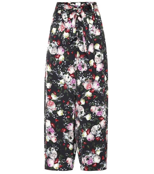 Erdem Everett floral satin pajama pants in black