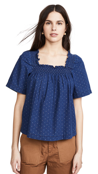 Madewell Smocked Square Neck Top in indigo