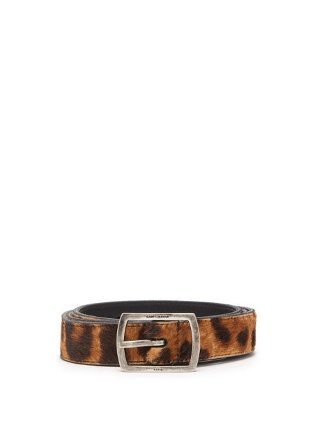 Saint Laurent - Leopard Print Calf Hair Belt - Womens - Brown
