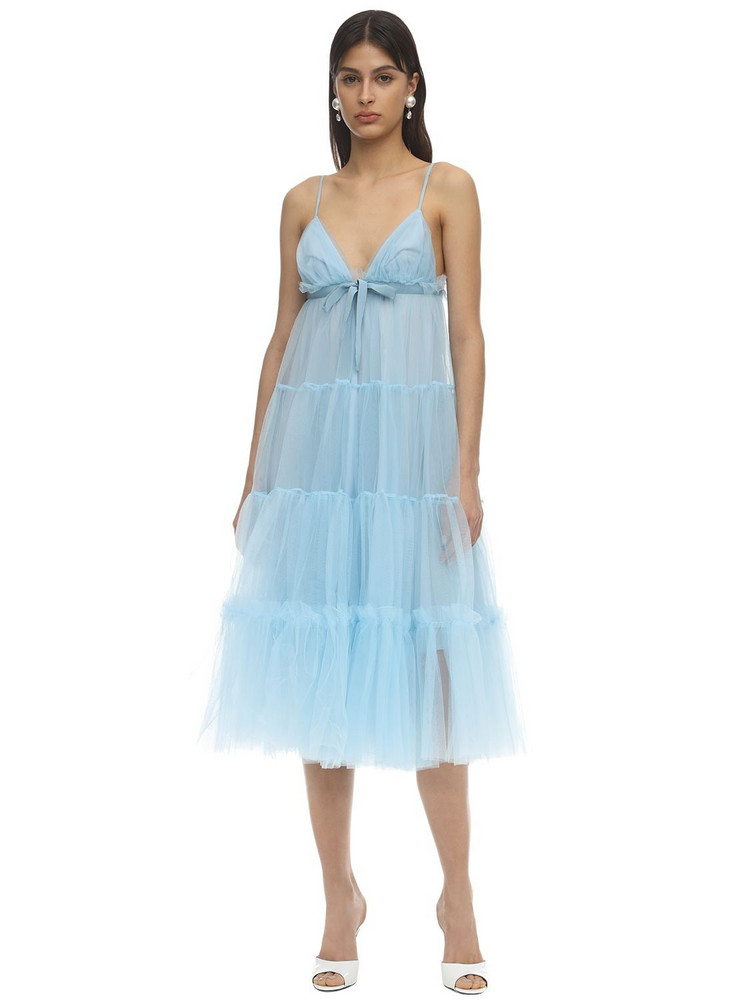 BROGNANO Tulle Midi Dress in blue