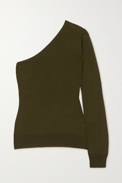 TOM FORD - One-sleeve Cashmere And Silk-blend Sweater - Army green