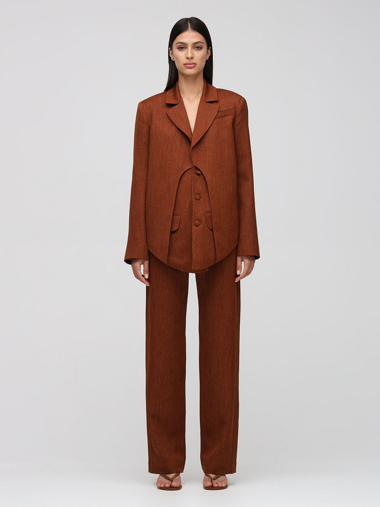 MATÉRIEL High Waist Twill Pants in brown