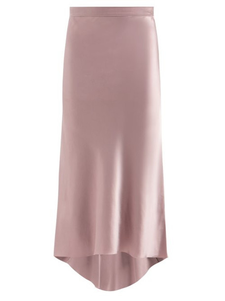 Raey - Bias Godet Silk Satin Midi Slip Skirt - Womens - Dusty Pink