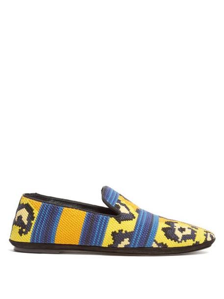 Loewe - Leopard Print Woven Loafers - Womens - Yellow Multi