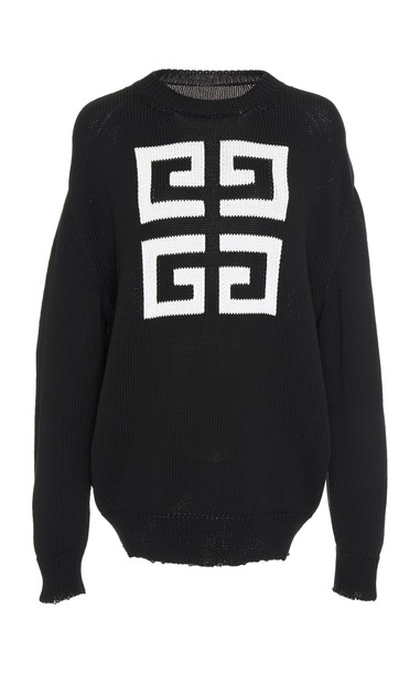 Givenchy Logo-Printed Cotton-Jersey Sweatshirt in black / white