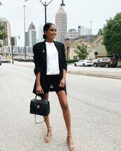 jacket,black blazer,flat sandals,chanel bag,black shorts,sweatshirt