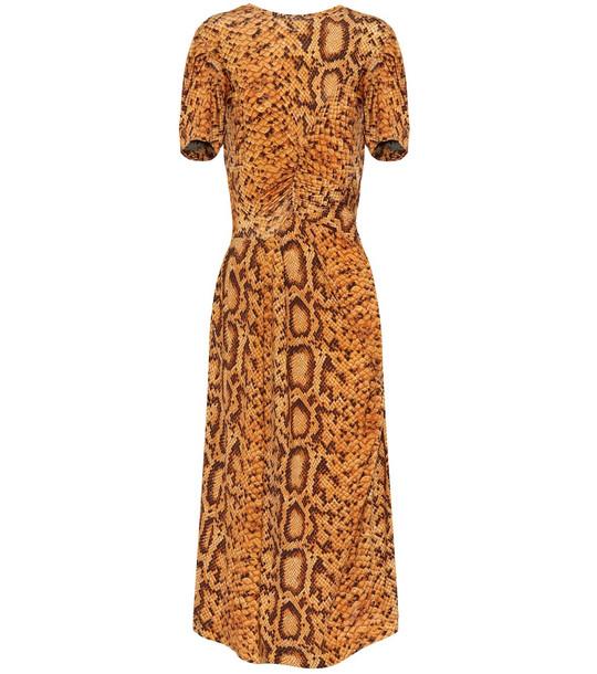 Preen by Thornton Bregazzi Daliz snake-print dress in gold