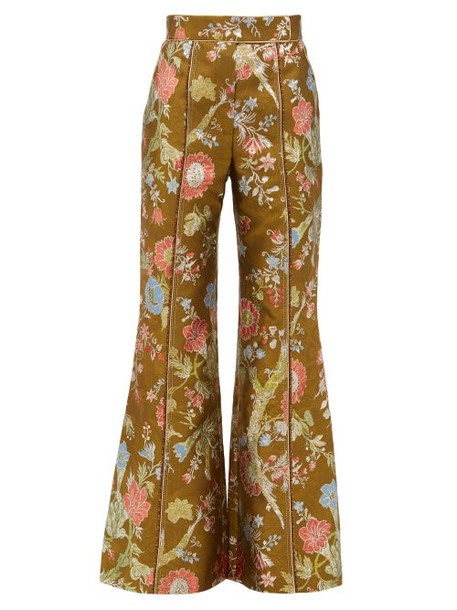 Peter Pilotto - High Rise Floral Brocade Flared Trousers - Womens - Green Multi