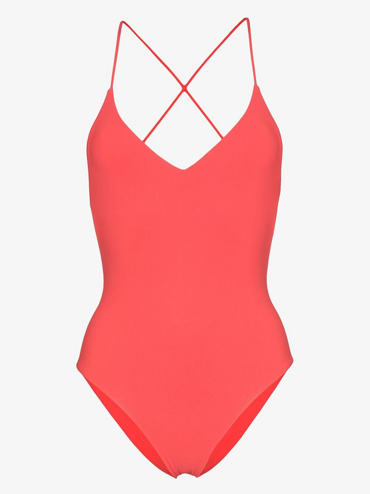 Anemone Criss-cross strap swimsuit in red