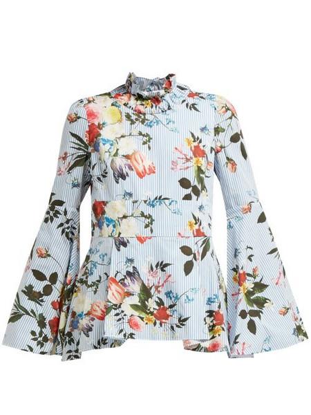 10b02f267ea65a BALENCIAGA Ruffled-shoulder floral-print blouse in orange / multi ...