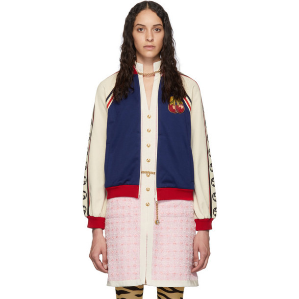 Gucci Blue and Beige Webbing Zip-Up Sweater