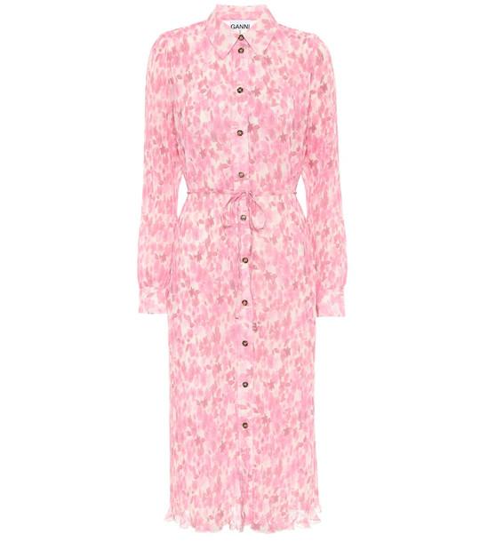 Ganni Floral georgette midi dress in pink