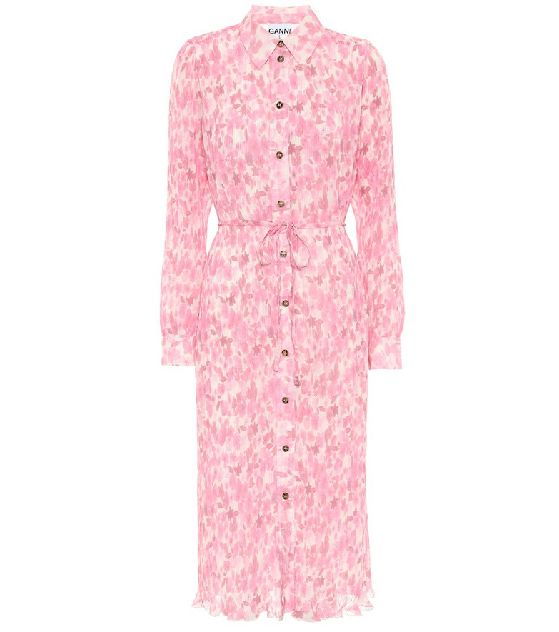 Ganni Floral georgette midi dress in pink