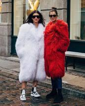 coat,faux fur coat,long coat,fuzzy sweater,winter outfits,white sneakers,black sunglasses