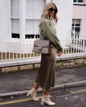 skirt,midi skirt,satin,ankle boots,heel boots,gucci bag,knitted sweater,green sweater,sunglasses