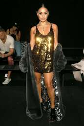 dress,sequins,sequin dress,gold sequins,gold dress,vanessa hudgens,celebrity,fashion week,mini dress