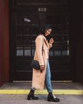 coat,long coat,pink coat,black boots,combat boots,lace up boots,ripped jeans,boyfriend jeans,black bag,crossbody bag