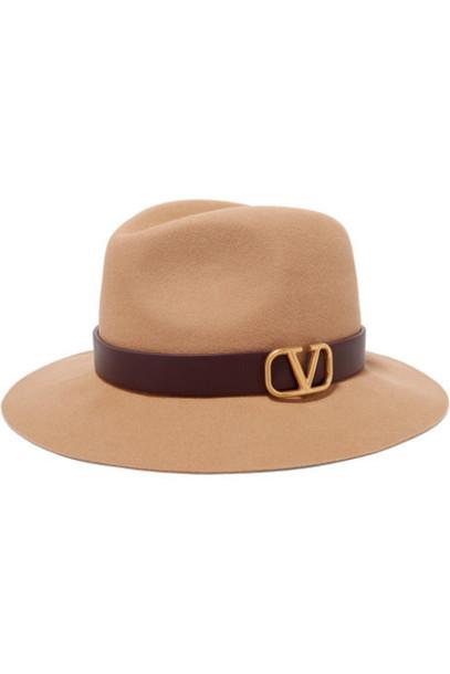 Valentino - Valentino Garavani Embellished Leather-trimmed Rabbit-felt Fedora - Cream
