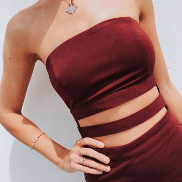 dress red burgundy cut-out strapless party cocktail