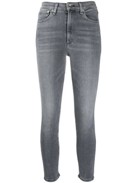Rag & Bone cropped washed jeans in grey