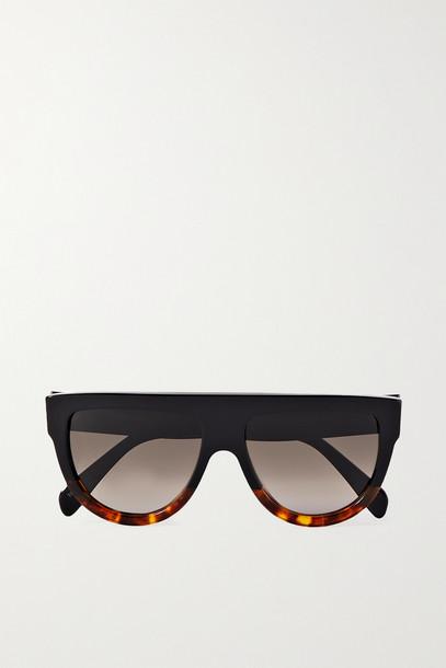CELINE - D-frame Tortoiseshell Acetate Sunglasses - Black