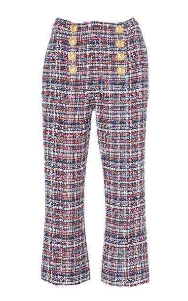 Balmain Button-Detailed High-Waisted Cropped Tweed Pants in multi