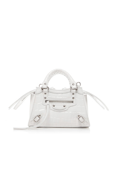 Balenciaga Neo Classic City Small Croc-Effect Leather Bag in white