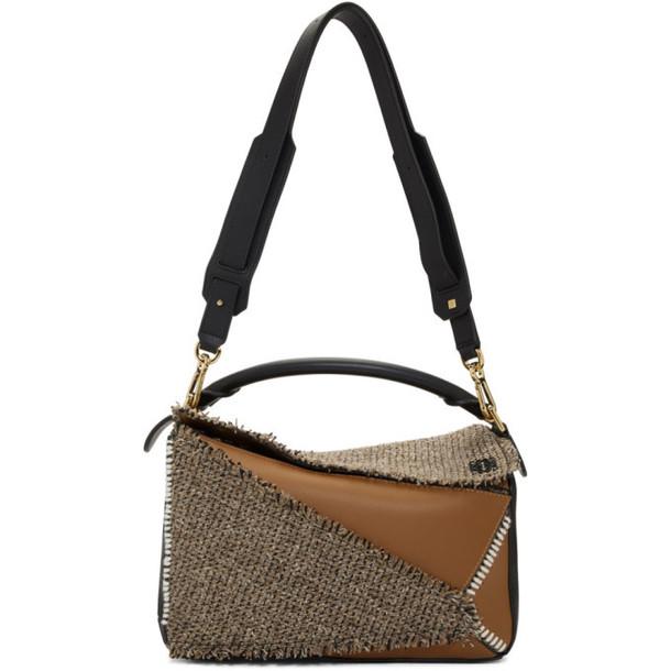 Loewe Tan Small Tweed Puzzle Bag