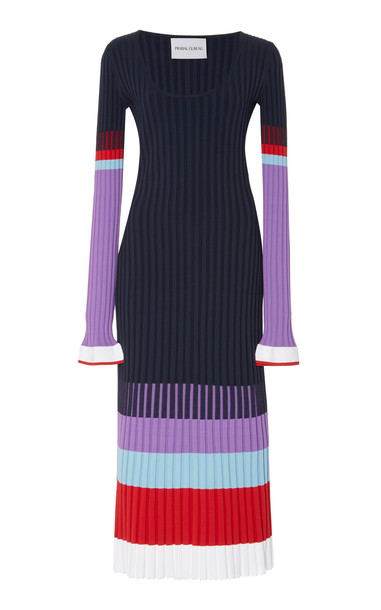 Prabal Gurung Color-Blocked Striped Ribbed Knit Midi Dress in navy