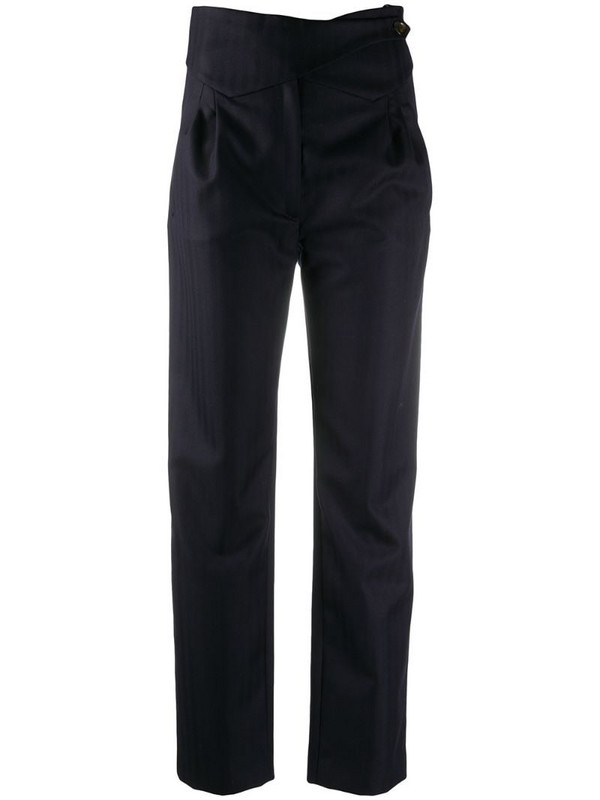 Blazé Milano high-waisted straight-leg wool trousers in blue