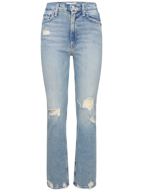 MOTHER Rider High Waisted Distressed Jeans in blue