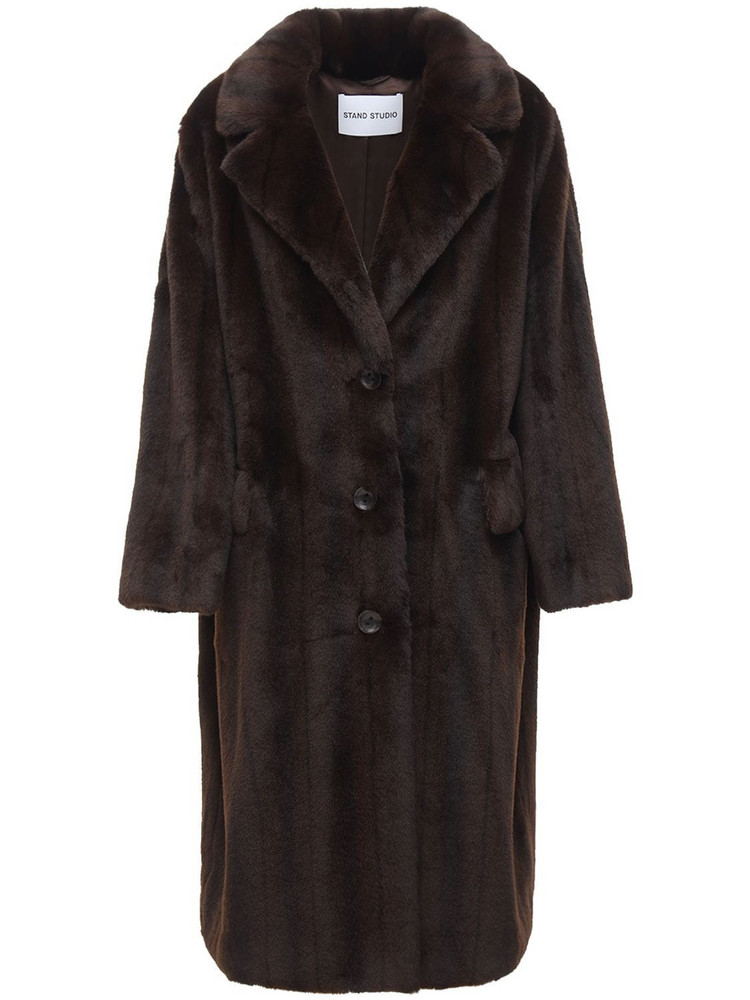 STAND Theresa Faux Fur Coat in brown