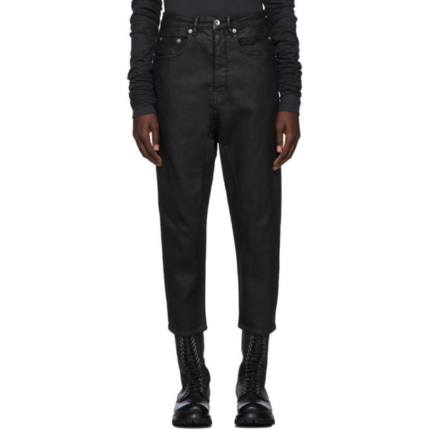 Rick Owens Drkshdw Black Waxed Cropped Collapse Jeans