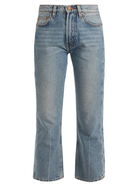 Bliss And Mischief - Cowboy Fit Bootcut Cropped Jeans - Womens - Light Blue