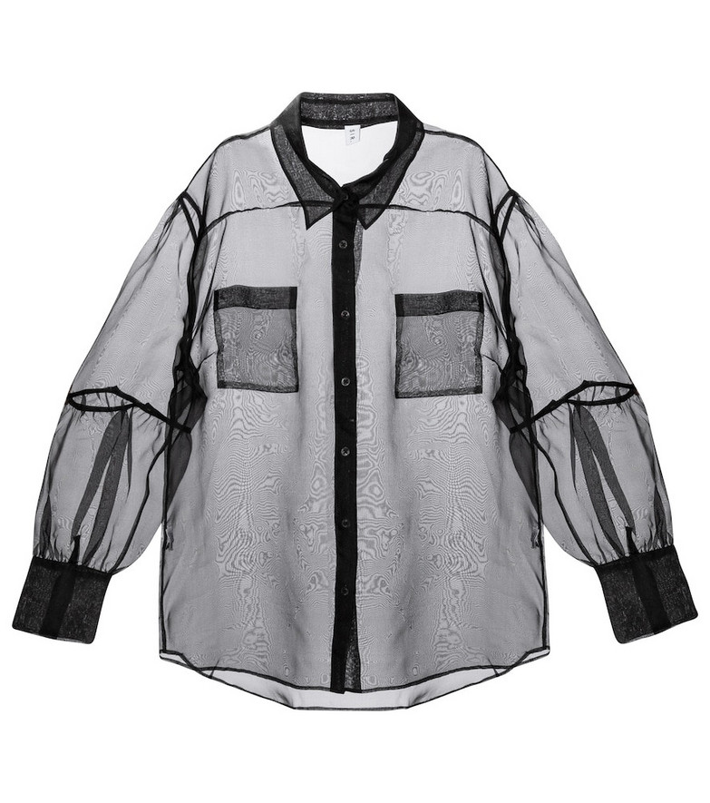 SIR Maelie silk organza shirt in black