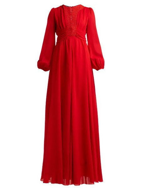 Giambattista Valli - Macramé Lace And Crepe Gown - Womens - Red